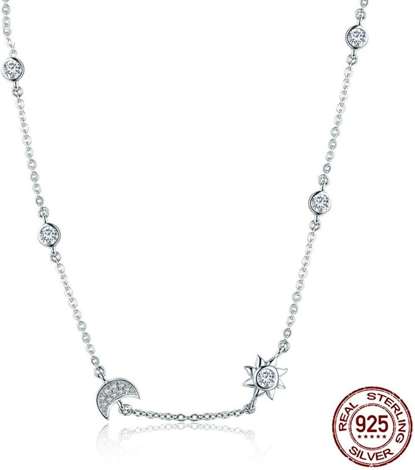 QMM necklace Pendant 100% 925 Sterling Silver Sparkling Moon and Star Exquisite Pendant Necklaces for Women 925 Silver Jewelry Gift