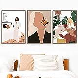 oioiu Chica Abstracta Planta Hoja de Fruta Cartel nórdico Retro e impresión Mural Arte Lienzo Pintura Mural Sala de Estar decoración sin Marco