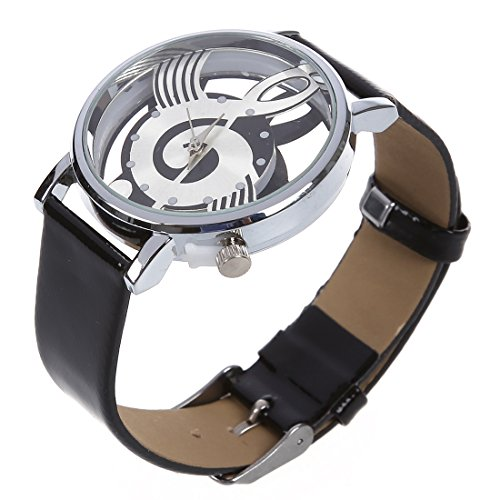 Reloj de Pulsera de Cuarzo de Cuero Sintetico - SODIAL(R) Reloj de Pulsera de Cuarzo de Esqueleto Hueco de Musica de Correa de Cuero Sintetico para Hombre y Mujer Negro