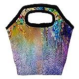 Bolsa de almuerzo con pintura abstracta de flores, aislada,...