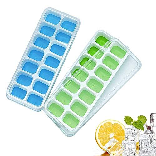 Eiswürfelschale, Gxhong BPA-freie Eiswürfelformen mit nicht verschütteten Deckeln - Silikon-Eiswürfelschale Perfekt für Wasser, Cocktail und jedes Getränk - Haltbar, stapelbar und spülmaschinenfest