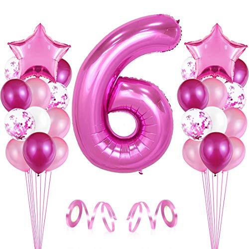 Bluelves Luftballon 6. Geburtstag Rosa, Geburtstagsdeko Mädchenn 6 Jahr, Happy Birthday Folienballon, Deko 6 Geburtstag Junge Mädchen, Riesen Folienballon Zahl 6, Ballon 6 Deko zum Geburtstag