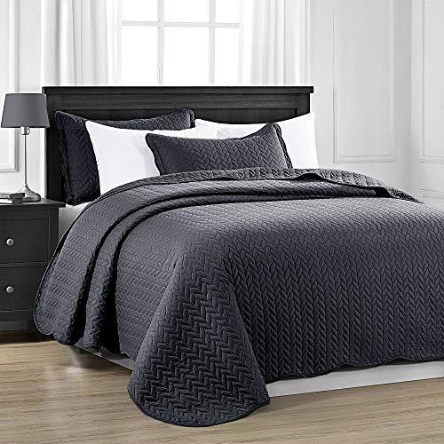 MOONLIGHT20015 Gesteppte Tagesdecke für Doppelbett (220 x 240 cm) + 2 Kissenbezüge für Schlafzimmer Dekor, Wendedecke, geprägte Tagesdecke mit matter Oberfläche (Anthrazit/Dunkelgrau, Doppelbett)