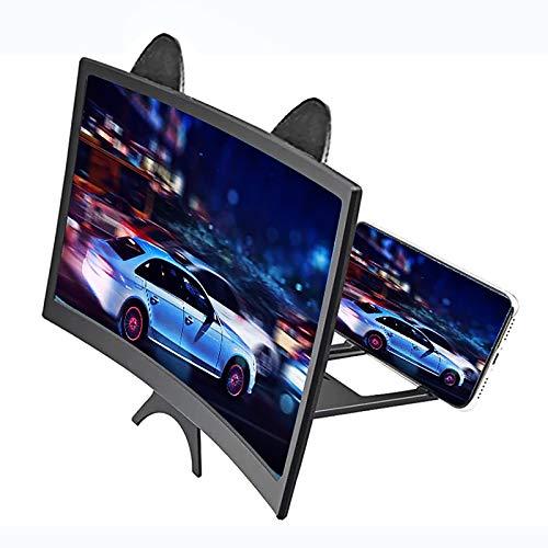 Lupa HD de 12 Pulgadas para teléfono Celular, Amplificador de Pantalla Curva 3D Plegable Soporte de teléfono Compatible con Todos los Smartphones para Leer y Ver la televisión