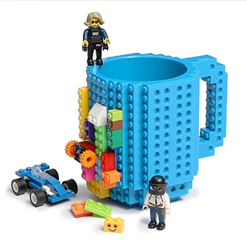 Build-on Brick Coffee Mug, Funny DIY Novelty Cup with Building Blocks Creative Gift for Kids Men Women Xmas Birthday (Blue)