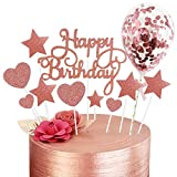 Rorchio Rose Gold Cake Toppers, Happy Birthday Cupcake Topper and 5inch Confetti Balloons for Birthday Cake Decorations