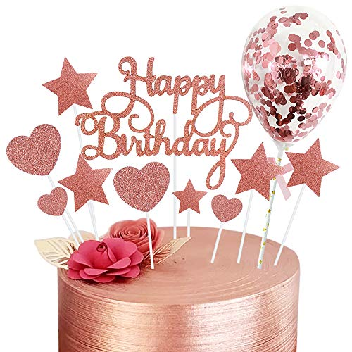 Rorchio 15PCS Déco Gâteau Anniversaire Or Rose Happy Birthday Cake Toppers Rose Gold Patisserie Accessoire avec Mini Ballon pour Décoration Gâteau Anniversaire de Fille Femme
