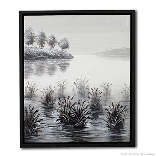 zxddzl Arte della Parete della Decorazione dell\'ufficio della Pittura a Olio con Erba su Tela del Fondo Nero Grigio del Paesaggio di Colore del Fiume