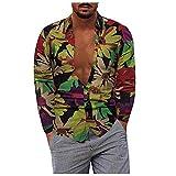 D-Rings Camisa para hombre, manga larga, parte superior de algodón y lino, corte regular, cuello alto, a rayas, rojo, XXXXXL
