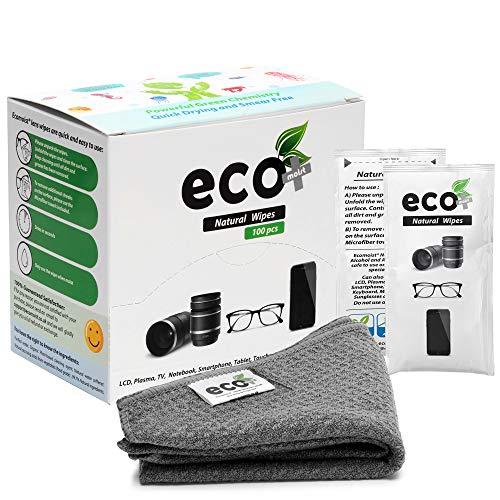 Ecomoist Toallitas de limpieza de lentes 100 toallitas de limpieza prehumedecidas fina toalla de microfibra ideal para gafas, móviles, lentes de cámara, pantallas y teclados