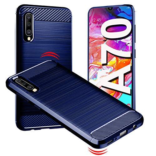 YBPowerCase Cover Samsung A70,Custodia Protettiva Samsung Galaxy A70,Morbido TPU Design in Fibra di Carbonio,Ultra [Slim Sottile],Antiurto,Custodie per Samsung A70 2019,Blu