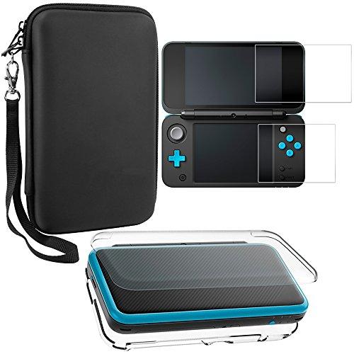 Estuches protectores para Nintendo New 2DS XL con protectores de pantalla, AFUNTA 1 estuche transparente y 1 estuche de EVA para consola 2DSXL, con 2 piezas de películas de vidrio templado antiarañaz