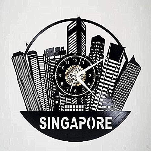 KDBWYC Reloj de Pared Led con Disco de Vinilo de Singapur, Silueta nostálgica Brillante, Registro Hecho a Mano, decoración de Dormitorio, lámpara de Regalo de 12 Pulgadas