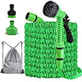 125ft Expandable Garden Hoses Flexible Water Hose with 7 Function Spray Gun Nozzles, Lightweight Retractable Hose Pipe for Outdoor Lawn Pet Shower Plant Car (Green)