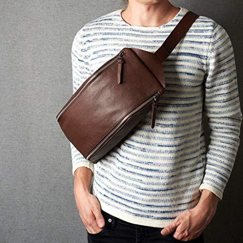 Capra Leather Brown Leather Sling Backpack Shoulder Bag Men Daypack. Single Strap small backpack. Street Everyday Carry festival bag. Crossbody street bag gift