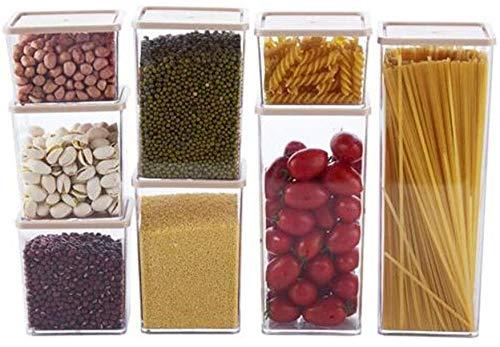 QFLY Tarros Cocina Cereal Snack-Contenedores Tanque de Almacenamiento Precinto plástico Transparente 8 Piezas apilable Cocina Grano contenedor de Almacenamiento Botes Cristal Cocina (Color : Beige)