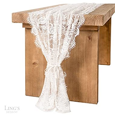Ling's moment White Lace Table Runner/Overlay 32x120 Inches Rustic Chic Wedding Reception Table Decor Boho Party Decoration Baby&Bridal Shower Decor