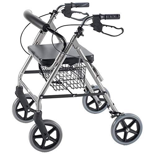 DMYY Andador Rollator Caminador Hecho De Aluminio Y con Frenos, Altura Regulable Trolley para Mayores Walker Rollator Cuatro Ruedas Plegable Silla De Ruedas Ligera