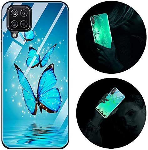Leton-US Samsung Galaxy A12 Case Silicone Luminous Noctilucent 9H Tempered Glass Back Cover Soft Slim TPU Bumper Shockproof Phone Case for Samsung A12 5g Glow in Dark Butterfly