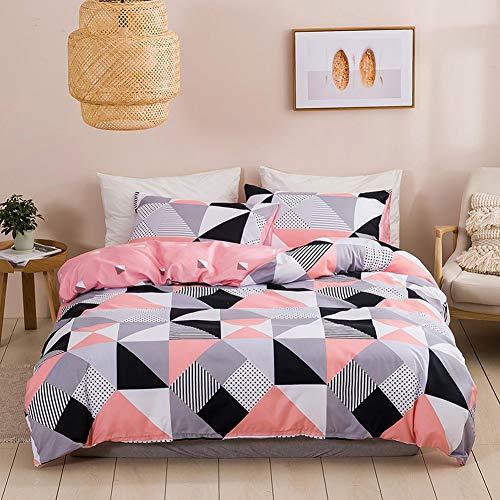 Loussiesd Juego de ropa de cama para niñas, 3 piezas, diseño de triángulo geométrico moderno, para niños, adultos, franja de cuadros gris, rosa, blanco, funda de edredón de microfibra de lujo