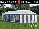 Dancover Carpa para Fiestas Carpa Eventos Original 5x8m PVC, Gris/Blanco