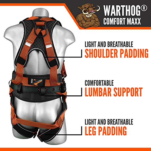 Malta Dynamics Warthog Comfort MAXX Construction Harness with Removable Belt, Side D-Rings and Additional Thick Padding (Small-Large), OSHA/ANSI/CSA Compliant