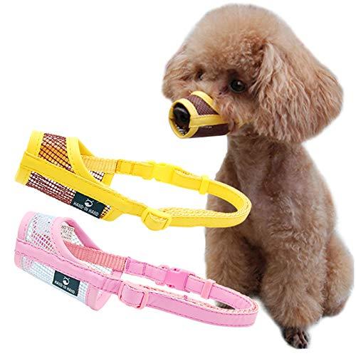 Zuzer 2PCS Muselière pour Chiens,Museliere Anti Aboiement Intoxication Dog Muzzle pour Petits Chiens Moyens Grands (Jaune + Rose, M)