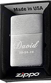 Groomsman Personalizied Zippo Brush Silver Pocket Lighter Free Engraving