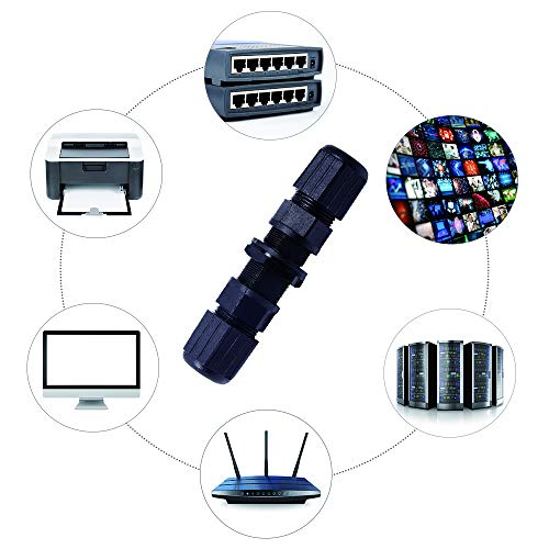 Panel Mount Female to Female CAT 5 Icstation RJ45 Waterproof Connector M20 IP65 Ethernet LAN Cable Coupler CAT 5E CAT 6