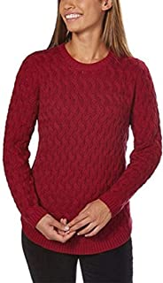 Women's Fisherman Cable-Knit Sweater (Red Currant, Medium)