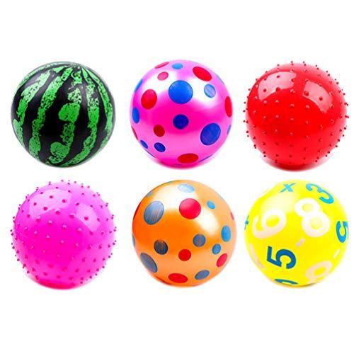 BESPORTBLE 6 Stück Spielball Wasserball aufblasbare Ball 20cm Kinder Fußball Wurfball PVC Strand Ball Kinder Sportball Beachball Fussball drinnen draußen für Kleinkinder Mädchen Jungen