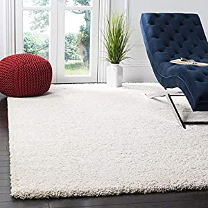 SAFAVIEH Milan Shag Collection SG180 Solid Non-Shedding Living Room Bedroom Dining Room Entryway Plush 2-inch Thick Area Rug, 8′ x 10′, Ivory