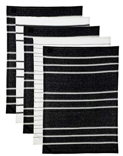 5er Pack Frottier-Küchenhandtuch Geschirrhandtuch 100% Baumwolle - saugstark schnelltrocknend strapazierfähig - Größe: ca. 45x65 cm - Schwarz von Brandseller