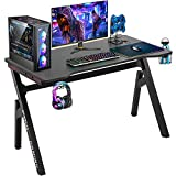 Computer Desk Gaming Desk 47.2 inches Student PC Desk Writing Desk Ofiice Desk Extra Large Modern Ergonomic Racing Style Table Workstation Carbon Fiber Cup Holder Headphone Hook