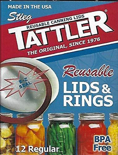 Tattler Reusable Regular Mouth Canning Lids & Rubber Rings - 12/pkg