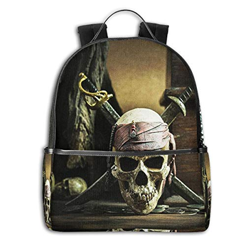 SGSKJ Mochila Tipo Casual Mochila Escolares Mochilas Escolar Estilo Impermeable para Viaje De Ordenador Portátil para Hombre Mujer Calavera Pirata del Caribe