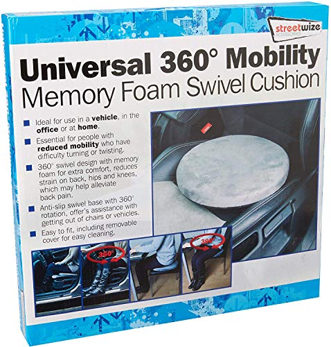 Streetwize SWSV2 Swivel Cushion - Pivotal Seat Cushion w/ 4.5 cm Memory Foam, Rotating Seat Cushions for Cars, Home, Offices