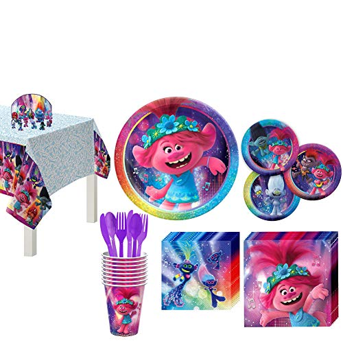Party City Trolls World Tour Birthday Party Supplies 8 Guests, Poppy Branch Plates, Napkins, Cups, Utensils, Decorations