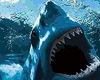 数字で描く子供たち青い動物のサメ40X50Cmフレームなしのキャンバスペイント3つのブラシでストレスを和らげる