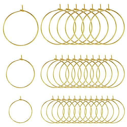 TOAOB 300 Piezas 20 mm y 25 mm y 30 mm de Diámetro Tono Dorado Metal Pendiente Aro Copa de Encantos de Copa de Vino Anillos para Decoraciones de Fiesta y Fabricación de Joyas