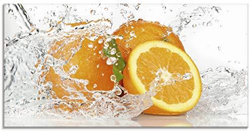 Artland Glasbilder Wandbild Glas Bild einteilig 100x50 cm Querformat Früchte im Wasser Obst Orange Frucht Cocktails Bar Modern T5UI