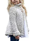 Toddler Baby Girls Autumn Winter Clothes Button Knitted Sweater Cardigan Cloak Warm Thick Coat (Beige, 5-6 Years)