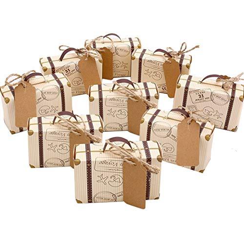 Hodeacc - Mini valigie da viaggio a tema per bomboniere, in stile vintage, in kraft, con etichette e spago di iuta, ideale come decorazione per feste