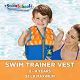 SwimSchool Swim Trainer Vest, Flex-Form, Adjustable Safety Strap, Easy on and Off, Small/Medium, Up to 33 lbs., Blue/Orange, 20 - 30 lb., Model:AZV15120SM