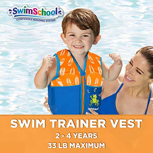 SwimSchool Swim Trainer Vest, Flex-Form, Adjustable Safety Strap, Easy on and Off, Small/Medium, Up to 33 lbs., Blue/Orange