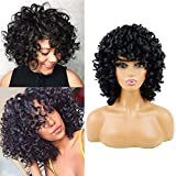 Short Curly Hair Wigs forBlack Women Andromeda Soft Fluffy Curls Synthetic Hair Wigs Natural Black Loose Curly AfricanAmerican Costume Cosplay Cheap Half Wigs + 1 Free Wig Cap(Black)