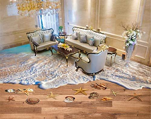 Yosot Papel pintado 3d de ondas decorativas hermosas baño de playa azulejos de piso 3D pintura tridimensional-450cmx300cm