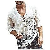 Camisa de manga larga para hombre, con estampado de mariposas, vintage, informal, manga larga, cuello en V, estilo bohemio B blanco M