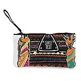 Trista Bauer Diseño de Origen étnico Monedero de Lona con Personalidad de Moda Linda con Cremallera Bolsa de Maquillaje con Correa para la muñeca Bolsa de teléfono en Efectivo 8.5 X 4.5 Pulgadas