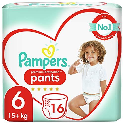 Pampers Baby Windeln Pants Größe 6 (15+kg) Premium Protection, 16 Höschenwindeln, Tragepack, Weichster Komfort Und Einfaches Anziehen